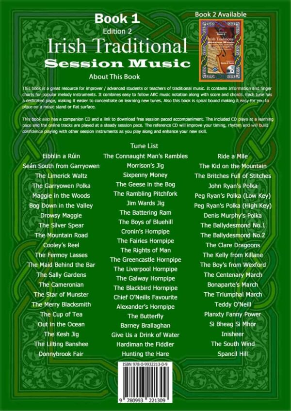 Book 1 back cover with tune list
