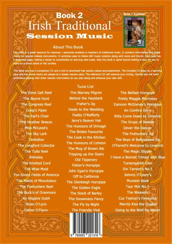 Book 2 back cover with tune list